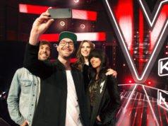 """The Voice Kids"" - Max Giesinger; Mark Forster; Larissa; Nena; (Copyright: SAT.1/André Kowalski)"