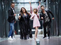 "Die""DSDS""-Finalisten. V.l.: Michael Rauscher, Janina el Arguioui, Marie Wegener und Michel Truog. (Foto: MG RTL D / Stefan Gregorowius)"