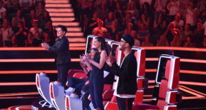 The Voice of Germany 2018 – Ausblick auf 6. Blind Audition – Michael Patrick Kelly; Yvonne Catterfeld;Mark Forster, (Foto: ProSieben/SAT.1/André Kowalski; Fotograf: Andre Kowalski)