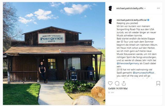 Michael Patrick Kelly verlässt TVoG (michael.patrick.kelly.official/Instagram)