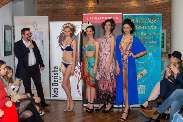 """Foto: Die Models von 1 st Place Models mit ihrem Agenturchef Dominik Wachta beim Event """"Miami Style"""". © Albert Stern"""