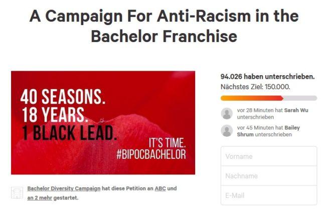 Petition für mehr Diversität (Screenshot change.org)